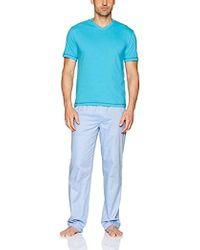 Robert Graham Mahad Fusion 2-piece Set With Jersey Top And Woven Pant - Blue