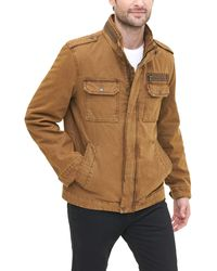 Levi's Washed Cotton Two Pocket Sherpa Lined Military Jacket - Marron