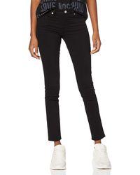 Love Moschino Kisses Print On Back Pocket_Push-Fit Denim Trousers Pantaloni, - Nero