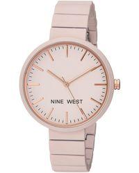 Nine West Nw/2012lprg Matte Pastel Pink Rubberized Bracelet Watch