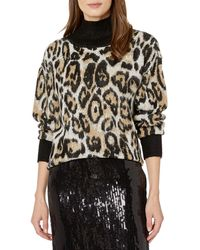 Vince Camuto Cheetah Jacquard Turtleneck Sweater - Black