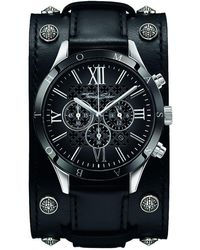 Thomas Sabo - Rebel Icon Silver Stainless Steel Men's Chronograph Watch W/black Leather Strap - Lyst