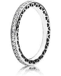 PANDORA Ring Unendliche Herzen 925 Silber Zirkonia transparent (19.1) - Mettallic