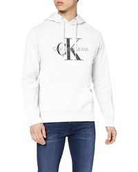 Calvin Klein Monogram Regular Hoodie Felpa - Bianco