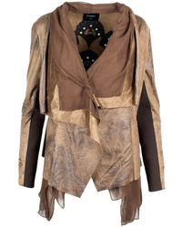 Desigual Tan Lua Faux Leather Waterfall Jacket 44 - Brown