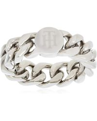 Tommy Hilfiger Steel Chain Ring - Size - Metallic