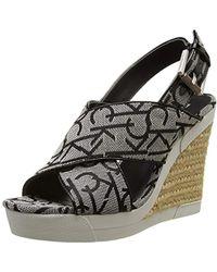 Calvin Klein - 's Elaine Ck Logo Jacquard/patent Heels Sandals - Lyst