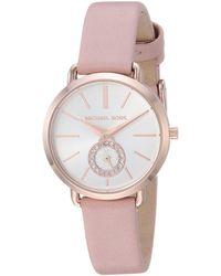 Michael Kors Analog Quarz Uhr mit Leder Armband MK2735 - Pink