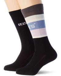 Levi's Colour Block Stripe Regular Cut Socks - Grey