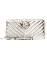 Guess Blakely SLG Large Zip Around Silver - Métallisé