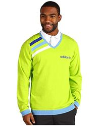 adidas Performance Wicking Lime Green & Blue Pullover Jumper (small)