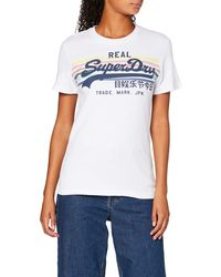 Superdry Vintage Logo Rodeo Rainbow Stripe Entry T-Shirt - Blanc