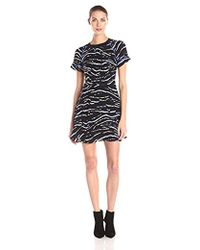 French Connection - Tapir Wave Crepe Short Sleeve Dress - Lyst