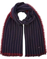 Tommy Hilfiger Double Sided Stripes Scarf - Blue