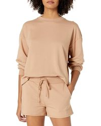 The Drop Margot Loose Long Sleeve Crewneck Drop Shoulder Sweatshirt - Brown