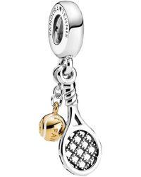 PANDORA Breloque en forme de raquette de tennis et balle en argent sterling 769026C01 15 x 7,2 x 6,2 mm - Métallisé