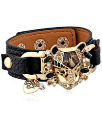 "Betsey Johnson - ""hollywood Glam"" Leopard Faux Leather Snap Bracelet - Lyst"