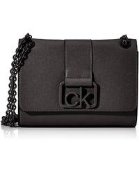 Calvin Klein Ck Signature Conv Crossbody Md - Noir