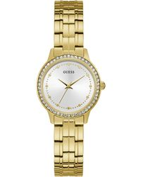 Guess - S Analogue Quartz Watch With Stainless Steel Strap W1209l2 - Lyst