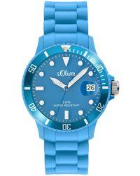 S.oliver Armbanduhr Medium Size Silikon blau Analog Quarz SO-1993-PQ