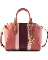 Michael Kors Ciara Medium Saffiano Leather Messenger Crossbody Bag Purse Handbag (rose Multi) - Multicolour
