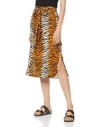 Dorothy Perkins Tiger Prnt Waist Mid Skirt - Orange