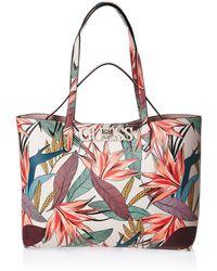 Guess UPTOWN CHIC PF730123 Shopper + kleine Tasche mit puderrosa Blumenmuster - Pink