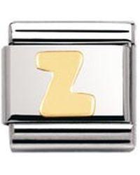 Nomination Maillon pour bracelet composable - - Lettre - Initiale - Acier inoxydable et Or jaune 18 - Métallisé