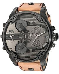DIESEL Chronograph Quarz Uhr mit Leder Armband DZ7406 - Mehrfarbig