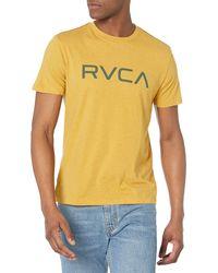 RVCA Red Stitch Graphic Crew T-shirt - Yellow