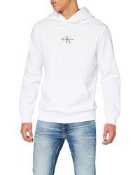 Calvin Klein Chest Monogram Hoodie Maglione - Bianco