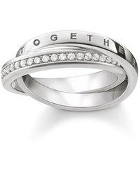 Thomas Sabo Ring Glam & Soul TOGETHER FOREVER 925 Sterling Silber Größe 54 TR2099-051-14-54 - Weiß