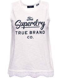 Superdry Jessica Graphic Lace Tank Débardeur - Blanc