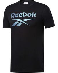 Reebok Uomo Vector Logo T-Shirt Girocollo Maglietta Nero M