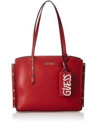 Guess Tia Girlfriend Carryall Crossbody Bags - Red