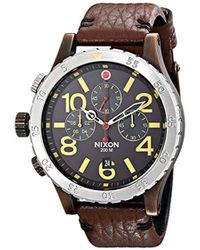 Nixon - 48-20 Gun Rose Stainless Steel Chronograph Watch With Leather Band - Lyst