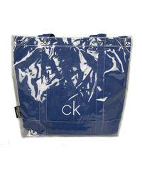 Calvin Klein Borsa mare spiaggia piscina swimwear CK articolo KW0KW00725 TRANSPARENT BEACH TOTE - Blu