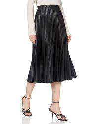 Dorothy Perkins Black Pu Pleat Midi Skirt