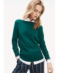 Tommy Hilfiger New Ivy Boat-NK SWTR Ls Sweat-Shirt - Vert