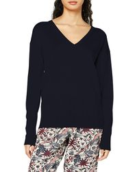 Scotch & Soda Merino Woollen Pullover in V Neck Maglione - Blu
