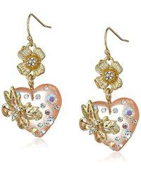 Betsey Johnson - Flower And Heart Double Drop Earrings - Lyst