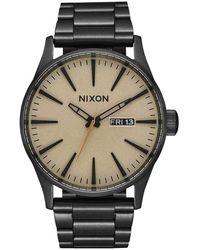 Nixon Armbanduhr Sentry Edelstahl Black / Khaki - Schwarz