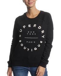 Superdry Sweatshirt Applique Raglan Crew Black - Schwarz