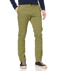 Tommy Hilfiger Hombre Bleecker Th Flex Satin Chino Gmd Loose Fit Jeans - Verde