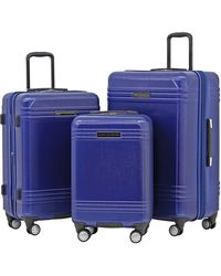 French Connection 3 Piece Horizon Expandable Spinner Luggage Set - Blue