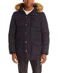 Tommy Hilfiger Micro Twill Full-length Hooded Parka Coat - Black