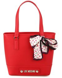 Love Moschino Shopper in ecopelle con foulard e logo Red Totes bags onesize - Rosso
