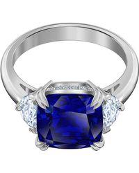 Swarovski Attract Cocktail Silver Tone 55 Ring 5512566 - Blau
