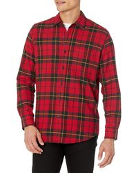 Amazon Essentials Camisa de franela a cuadros de manga larga y ajuste regular para hombre - Rojo