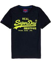 Superdry Vintage Logo Neon Lite Tee Pull sans che - Bleu